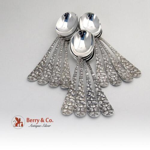 Set Of 12 Baltimore Rose Gumbo Soup Spoons Sterling Silver Schofield 1905