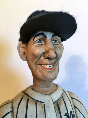 """VINTAGE FOLK ART """"BABE RUTH"""" HAND CARVED FIGURE.  CRATE PROSPECTS."""