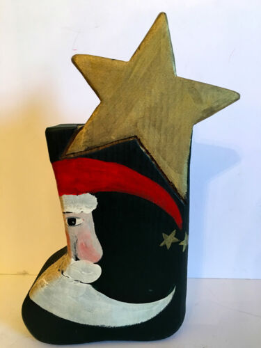 VINTAGE NANCY THOMAS FOLK ART WOOD SANTA BOOT WITH POEM! RARE! 1990. RARE!