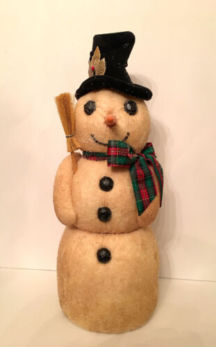 """VINTAGE PRIMITIVE FOLK ART SNOWMAN CANDY CONTAINER. 16"""" tall. Jerry Smith.  1992"""