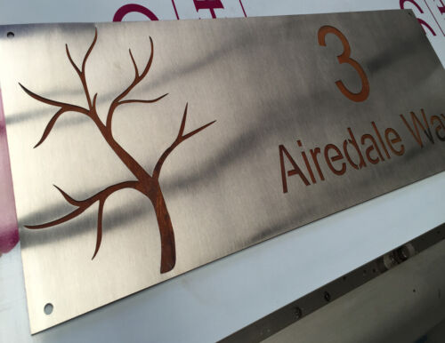 450mm x 250mm Rusted Steel Corten Steel Letter Box Sign Plaque Laser Cut Size