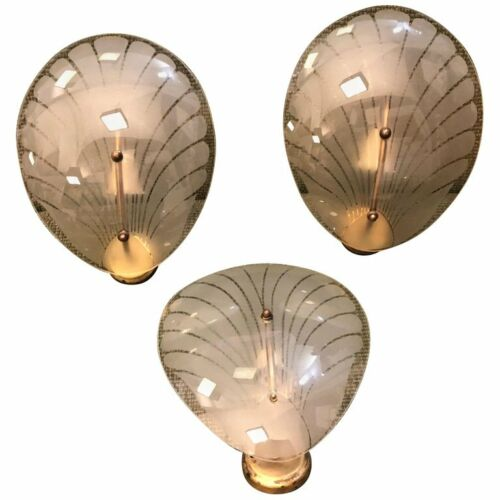 Art Deco Brass and Glass Italian Shell Wall Sconces, 3 available  circa 1930