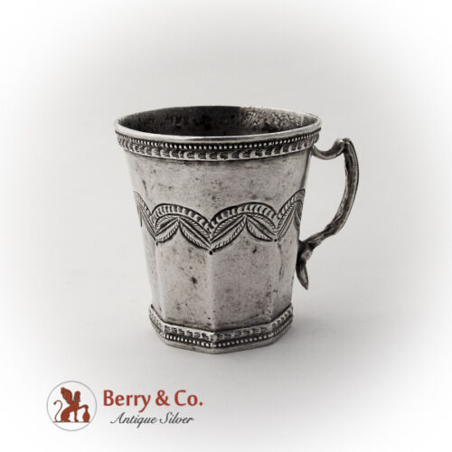 Antique Spanish Colonial Silver Cup Cast Handle 1825