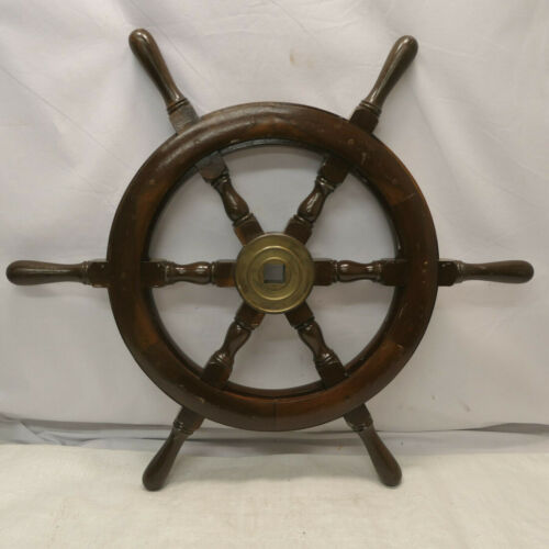 Vintage Small Ship's Wheel 71cm Wooden Japanese Nautical Maritime #90
