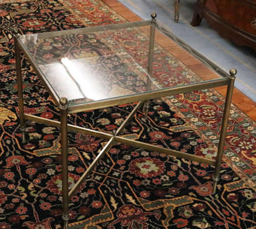 Small Solid Bronze Square French Maison Jansen Style End Coffee Table Beautiful!