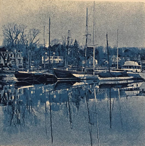Signed Sacco Erlich Boothbay Harbor Numbered New England Silkscreen Maine #S382