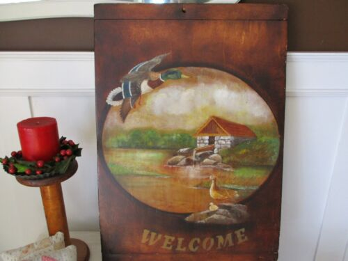 Hand painting on antique bread board. Nice piece/signed.