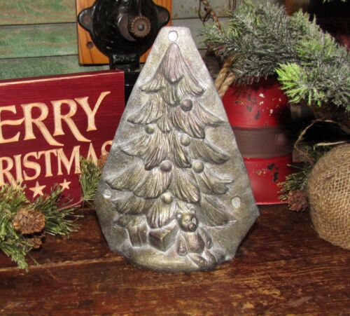 Primitive Antique Vtg Tin Style Christmas Tree Silver Resin Chocolate Mold