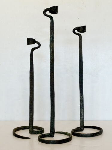 Set of 3 ANTIQUE Vintage FOLK ART NOUVEAU Arts Crafts WROUGHT IRON CANDLESTICKS