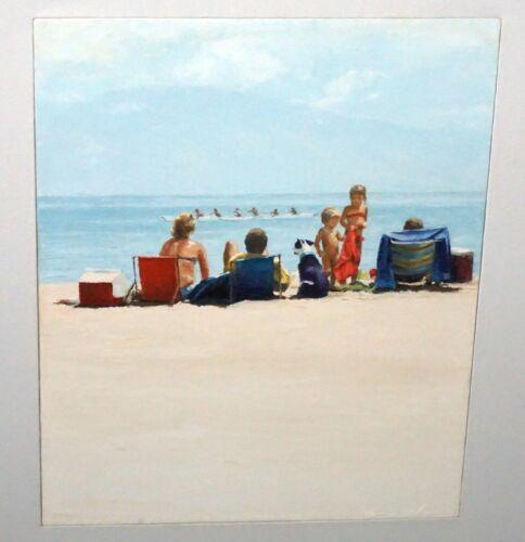 """1980s Hawaii Oil Painting """"Summer at Canoe Beach, Maui"""" by George Allen (Val)"""