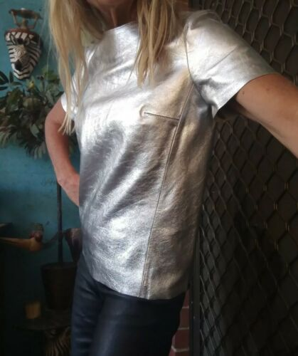 """BNWT Sass & Bide """"Lick The Moon"""" Silver Leather Top Sz 38/8 RRP $850"""