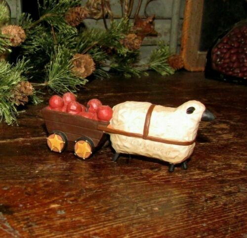 Primitive Antique Vtg Style Country Farm Resin Folk Sheep w/ Apple Cart Wagon