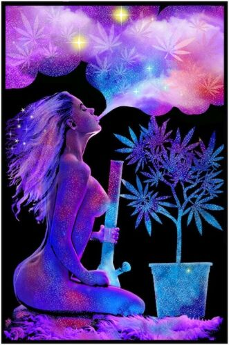 CANNABLISS - SEXY WEED - BLACKLIGHT POSTER - 23X35 FLOCKED HOT GIRL POT 53174