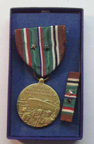 WW II European African Campaign Medal in Box 1 Silver 1 Bronze Battle Star MACO Medals & Ribbons - 4724