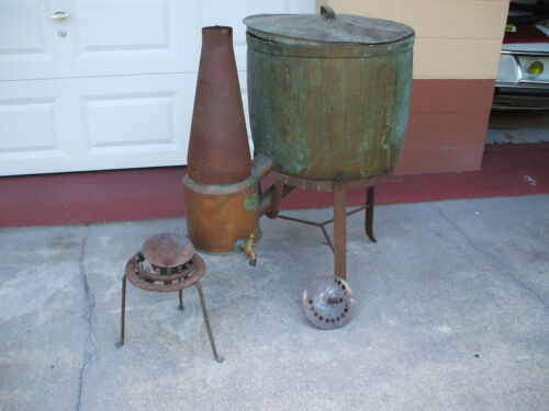 1800's antique european french  gas burner  washing machine copper  & brass