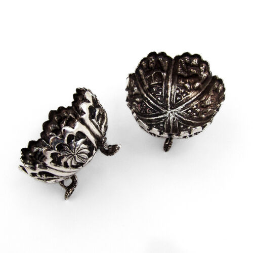 Ornate Salt Dishes 2 Sterling Silver Animals and Floral Decorations