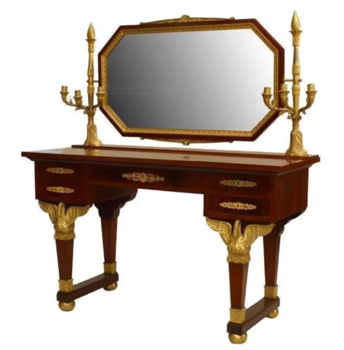 French Second Empire Mahogany Dressing Table with Candelabra, 19th Century