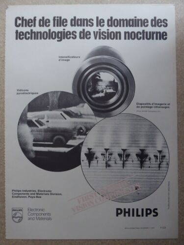 7/1978 PUB PHILIPS ELECTRONIC NIGHT VISION NOCTURNE INFRA RED ORIGINAL FRENCH AD