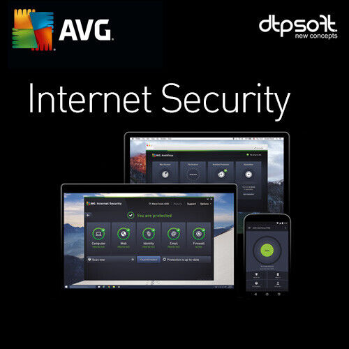 AVG INTERNET SECURITY 2021 - 3 PC's - 1 YEAR -  AU
