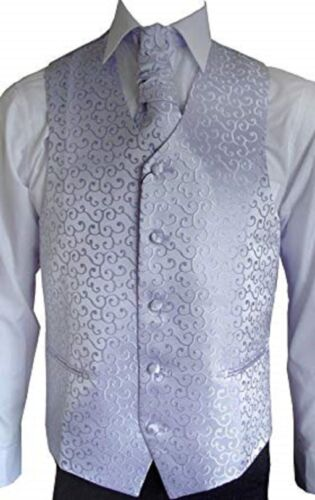 MEN`S SKY BLUE SCROLL WEDDING WAISTCOAT SET