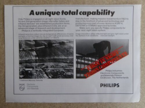 1/1982 PUB PHILIPS EINDHOVEN NIGHT VISION NIGHT SIGHT IMAGE INTENSIFIER TUBE AD