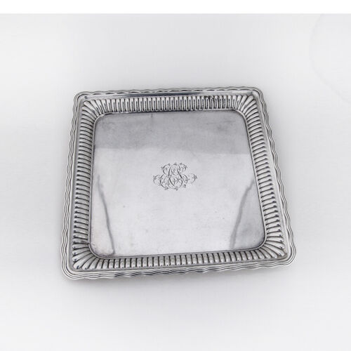 Square Tray Fluted Border Sterling Silver Gorham 1883