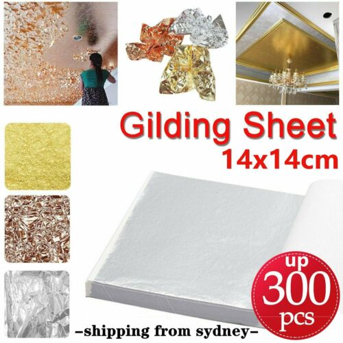 100/200/300 Sheet Rose Gold Silver Leaf Foil Paper Gilding Art Craft 9x9 14x14cm <br/> Large Size ✔3 Colors✔High Gloss✔Fast&Free Post✔AU Stock