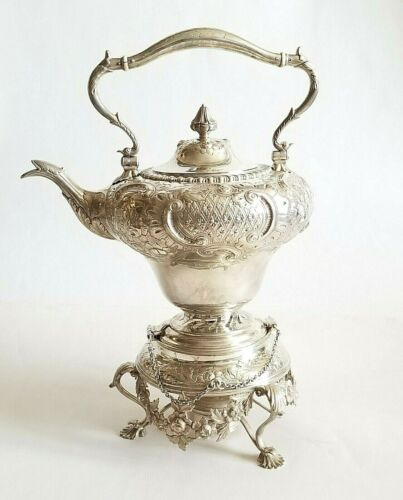 Stunning Large19C American Coin Silver Repousse Kettle Samovar