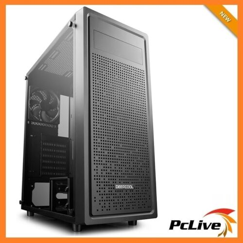 Deepcool Black E-Shield Gaming Mid Tower Case Tempered Glass Quiet Fan ATX USB 3