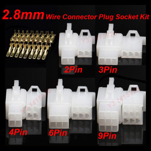 2P//3P//4P//6//9Pin Way 2.8mm Electrical Wire Connector Plug /& Socket Kit F Car Auto