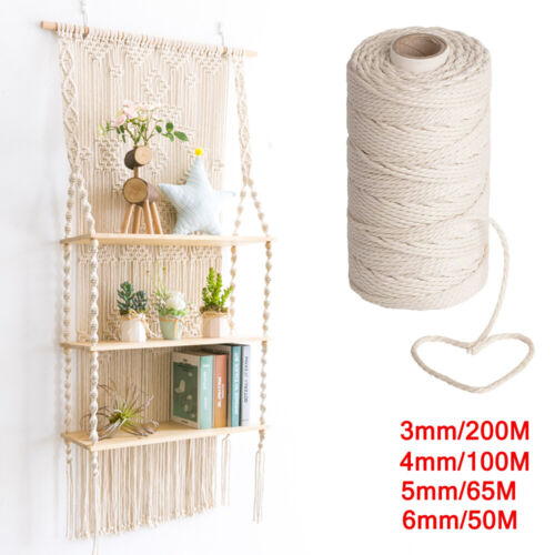 3/4/5/6mm Macrame Rope Natural Beige Cotton Twisted Cord Artisan Hand Craft AUS <br/> Premium Quality✔ Buy with confidence ✔ FREE SHIPPING