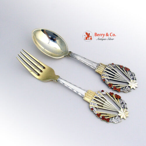 Michelsen Holly Christmas Spoon Fork Set 1922 Sterling Silver