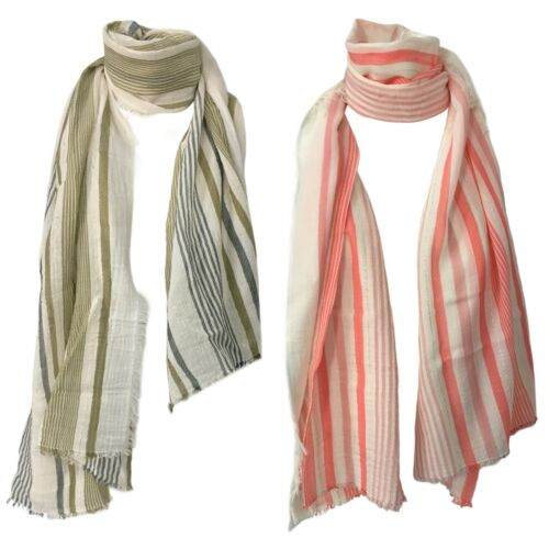 Foulard donna a righe cotone LA FEE MARABOUTEE art FB7721 MADE IN ITALY