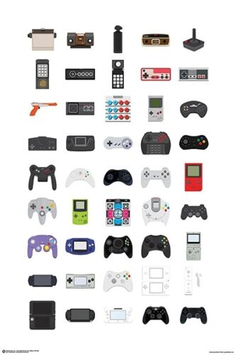 VIDEO GAME CONTROLLERS - CHART POSTER - 24 x 36 - 11455