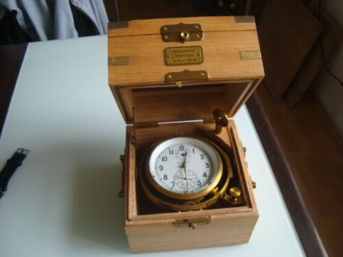 Russian marine chronometer in box KIROVA #15412 (box Oak)