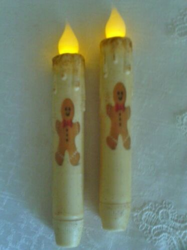 """2 GINGERBREAD MAN Design TIMER TAPER CANDLES Grungy Cream Primitive 6.5"""" Tall"""