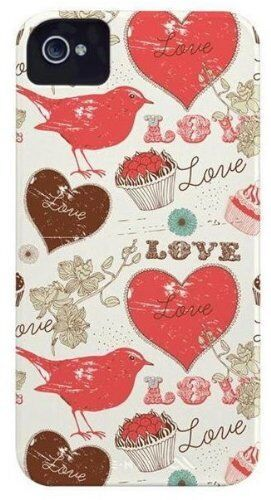 Case Mate iPhone 4S 4 Barely There Case Cover Bird/Love/Cupcake Design Red/Cream
