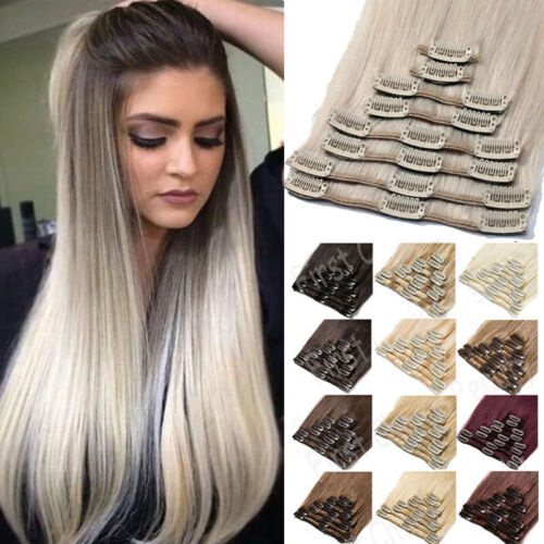 Indian SALE Clip in Real Hair Extensions 100% Remy Human Hair Full Head Long AU