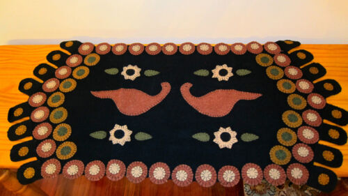 "PRIMITIVE PENNY RUG RUNNER. ""LOVE BIRDS"".   17"" by 35"".   JUST BEAUTIFUL!"