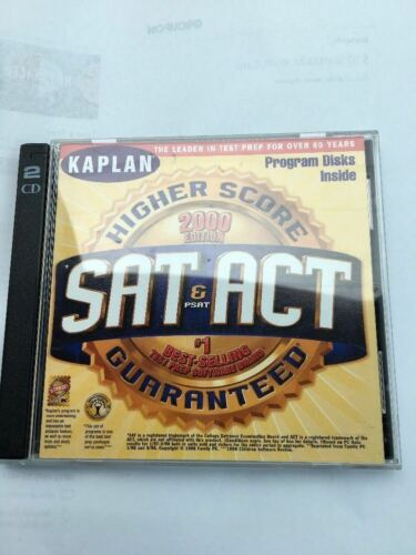 Kaplan Sat & Act Higher Score-2000 Edition-2 CD PC ROM-TESTED-VERY RARE VINTGE