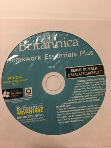 Encyclopedia Britannica Homework Essentials Plus CD-Data Disc-Win/Mac-04042RARE