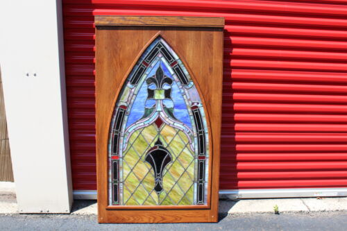 HUGE Antique Stained Glass Window With Wood Frame #2 Architectural Church