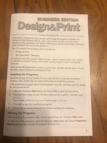 Business Edition Design & Print …Instruction Manual Only Ships N 24h