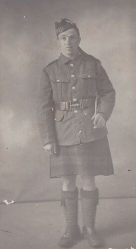 Portrait Photo Young WWI Scottish Soldier in kilt by West Park Studio Hull