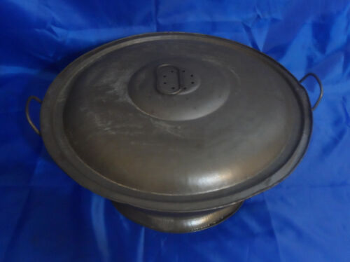 Antique Primitive Rising Bread Dough Metal Bowl with Vented Lid