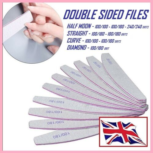 Nail Files 100-180-240 Grit Professional Quality-Half Moon-Curved-Diamond *UK*