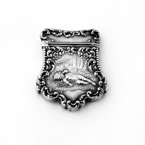 Art Nouveau Ornate Cupid Stamp Box Unger Bros Sterling Silver