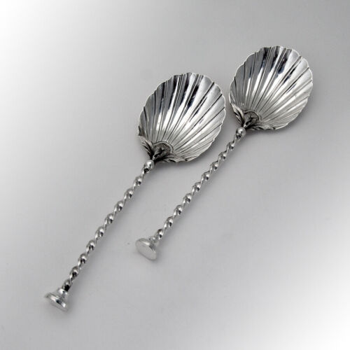 English Serving Spoons Pair Shell Bowl Seal Top Mappin Sterling 1896
