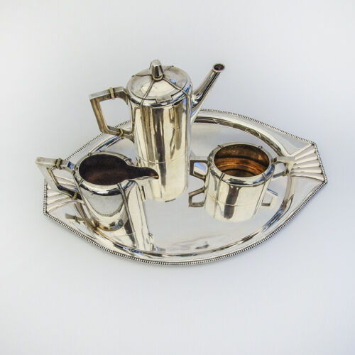 Austrian Secessionist Coffee Set Tray 800 Standard Silver 1890 Vienna