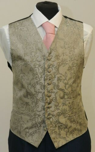 548 W MENS BLUE BLACK AND SILVER FLORAL WAISTCOAT